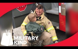 A Dad Uses Fire Truck For Surprise Military Homecoming