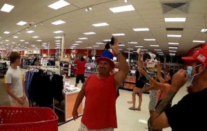 Anti-mask protesters in Florida Target yell 'Take off your mask!'