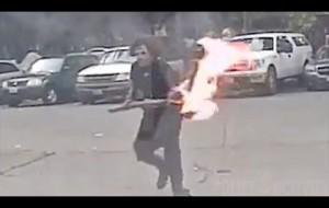Suspect Throws Torch into Seattle Police Car With an Officer inside