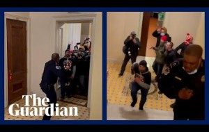Pro-Trump mob chases lone Black police officer up stairs in Capitol